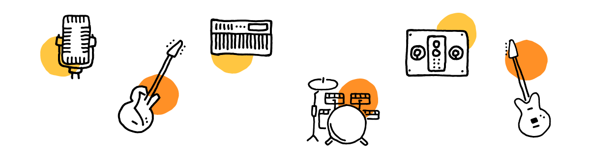 an image of illustrated instrument icons: Voice with a microphone, a Guitar, a drumset, a speaker, a bass, and a Keyboard