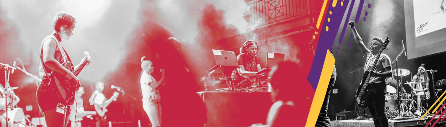 A set of three photos. Two have a red filter applied while one is in black and white. All photos show bands and DJ crews performing on stage at the 9:30 club. Decorative accent marks in purple, orange, and magenta are applied to the photos.